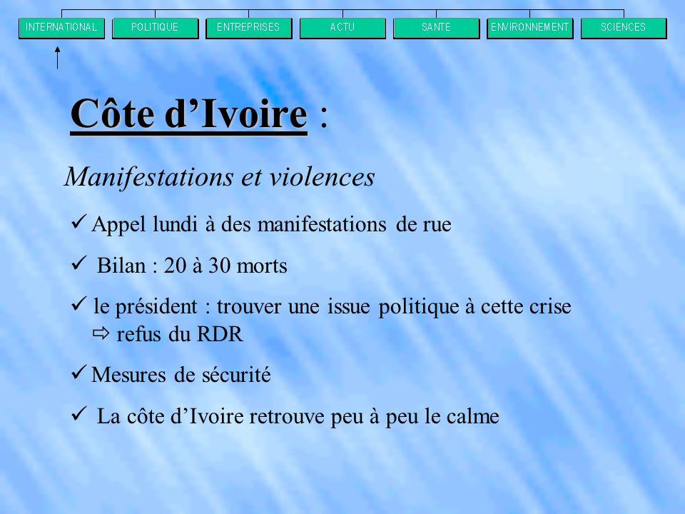 Manifestations et violences  Appel lundi à des manifestations de rue  Bilan : 20 à 30 morts  le président : trouver une issue politique à cette crise  refus du RDR  Mesures de sécurité  La côte d'Ivoire retrouve peu à peu le calme Côte d'Ivoire Côte d'Ivoire :