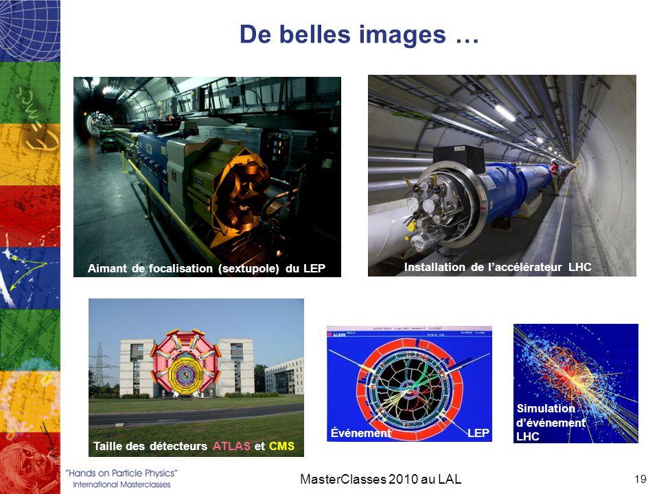 De belles images … MasterClasses 2010 au LAL 19 Aimant de focalisation (sextupole) du LEP Installation de l'accélérateur LHC Taille des détecteurs ATL