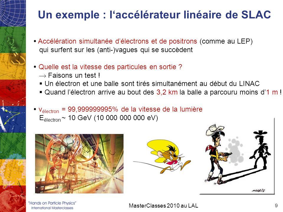 Un exemple : l'accélérateur linéaire de SLAC MasterClasses 2010 au LAL 9  Accélération simultanée d'électrons et de positrons (comme au LEP) qui surf
