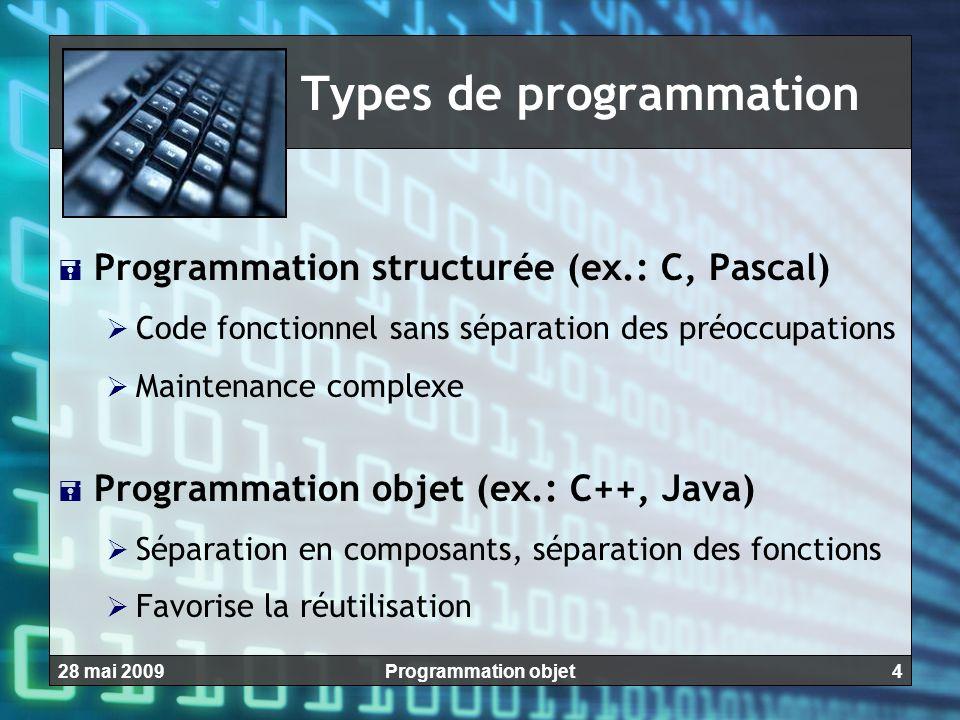 428 mai 2009Programmation objet Types de programmation  Programmation structurée (ex.: C, Pascal)  Code fonctionnel sans séparation des préoccupatio