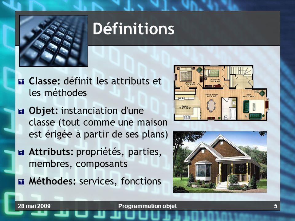 528 mai 2009Programmation objet Définitions CClasse: définit les attributs et les méthodes OObjet: instanciation d'une classe (tout comme une mais