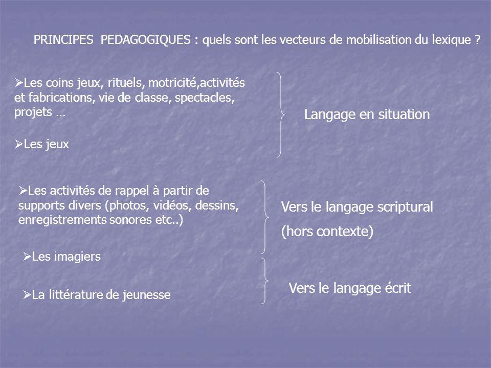 PRINCIPES PEDAGOGIQUES : quels sont les vecteurs de mobilisation du lexique .