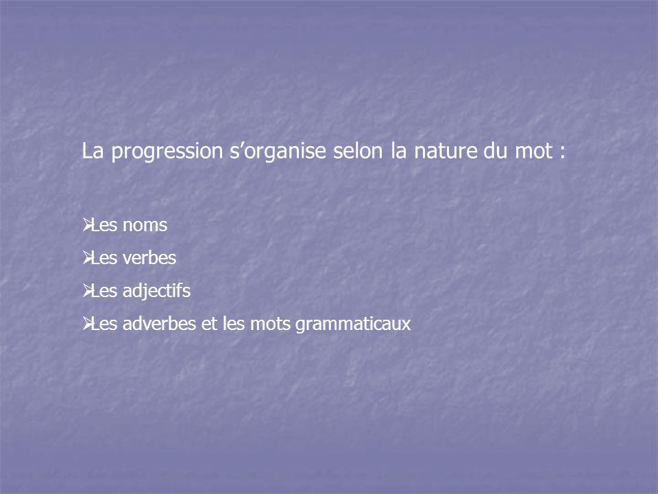 La progression s'organise selon la nature du mot :  Les noms  Les verbes  Les adjectifs  Les adverbes et les mots grammaticaux