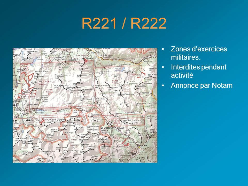 R71 Salon de Provence •FL 75 / FL 195 •Zone d'entraînement militaire pour les chasseurs.