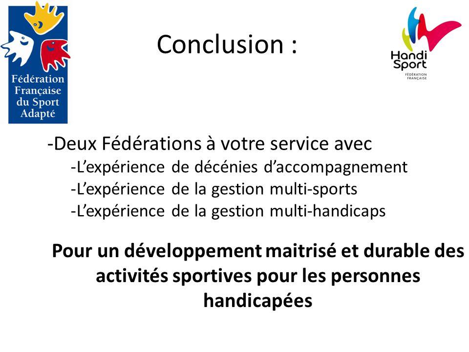 Conclusion : -Deux Fédérations à votre service avec -L'expérience de décénies d'accompagnement -L'expérience de la gestion multi-sports -L'expérience de la gestion multi-handicaps Pour un développement maitrisé et durable des activités sportives pour les personnes handicapées