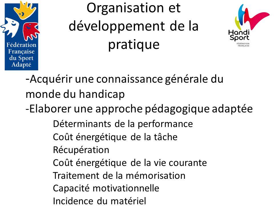 Organisation et développement de la pratique - Acquérir une connaissance générale du monde du handicap -Elaborer une approche pédagogique adaptée Déterminants de la performance Coût énergétique de la tâche Récupération Coût énergétique de la vie courante Traitement de la mémorisation Capacité motivationnelle Incidence du matériel