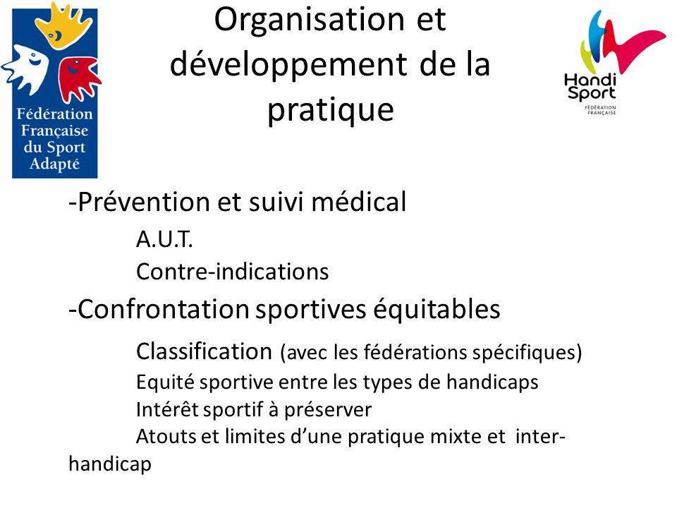 -Prévention et suivi médical A.U.T. Contre-indications -Confrontation sportives équitables Classification (avec les fédérations spécifiques) Equité sp