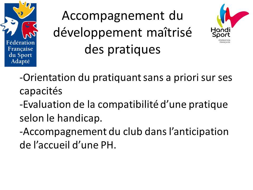 Accompagnement du développement maîtrisé des pratiques -Orientation du pratiquant sans a priori sur ses capacités -Evaluation de la compatibilité d'une pratique selon le handicap.