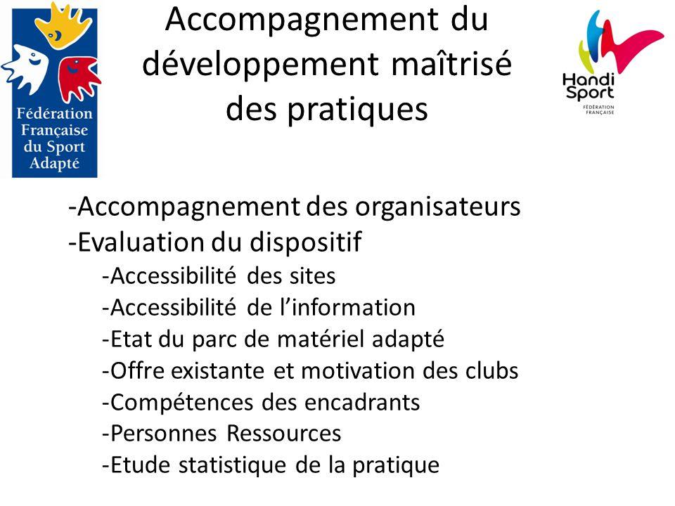 Accompagnement du développement maîtrisé des pratiques -Accompagnement des organisateurs -Evaluation du dispositif -Accessibilité des sites -Accessibi