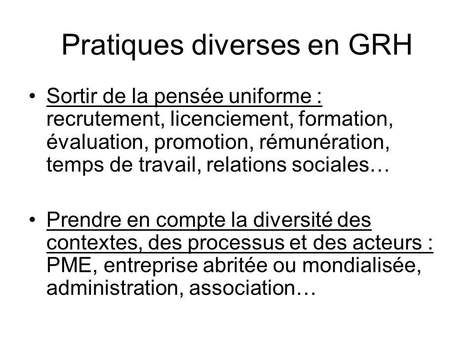 Pratiques diverses en GRH •Sortir de la pensée uniforme : recrutement, licenciement, formation, évaluation, promotion, rémunération, temps de travail,
