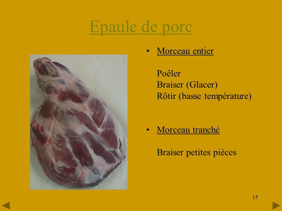 15 Epaule de porc •Morceau entier Poêler Braiser (Glacer) Rôtir (basse température) •Morceau tranché Braiser petites pièces