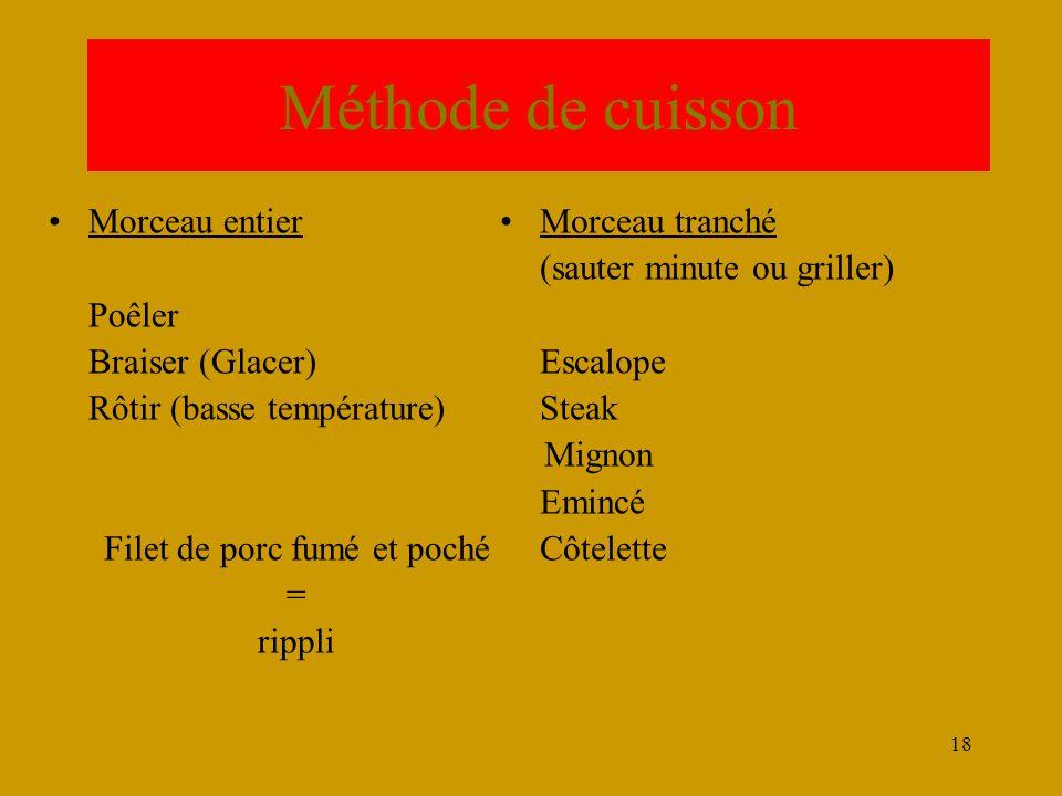 18 Méthode de cuisson •Morceau entier Poêler Braiser (Glacer) Rôtir (basse température) Filet de porc fumé et poché = rippli •Morceau tranché (sauter