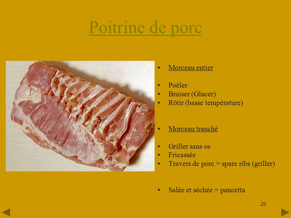 20 Poitrine de porc •Morceau entier •Poêler •Braiser (Glacer) •Rôtir (basse température) •Morceau tranché •Griller sans os •Fricassée •Travers de porc = spare ribs (griller) •Salée et séchée = pancetta