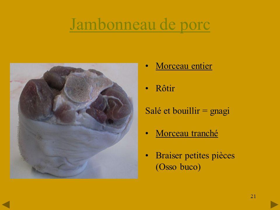 21 Jambonneau de porc •Morceau entier •Rôtir Salé et bouillir = gnagi •Morceau tranché •Braiser petites pièces (Osso buco)