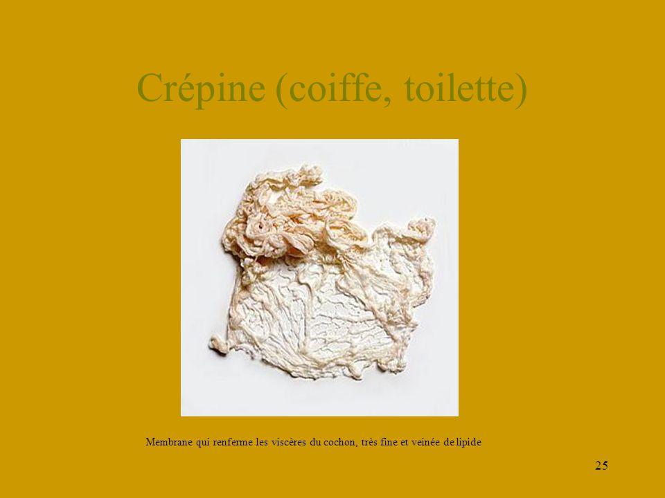 25 Crépine (coiffe, toilette) Membrane qui renferme les viscères du cochon, très fine et veinée de lipide