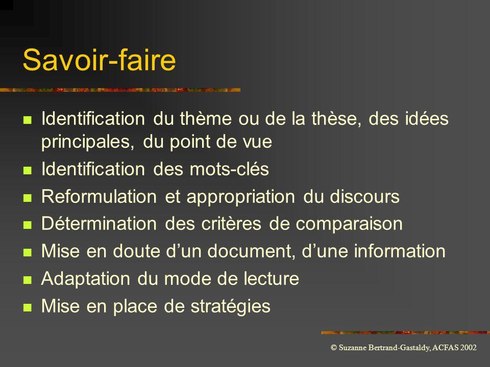 © Suzanne Bertrand-Gastaldy, ACFAS 2002 Savoir-faire  Identification du thème ou de la thèse, des idées principales, du point de vue  Identification