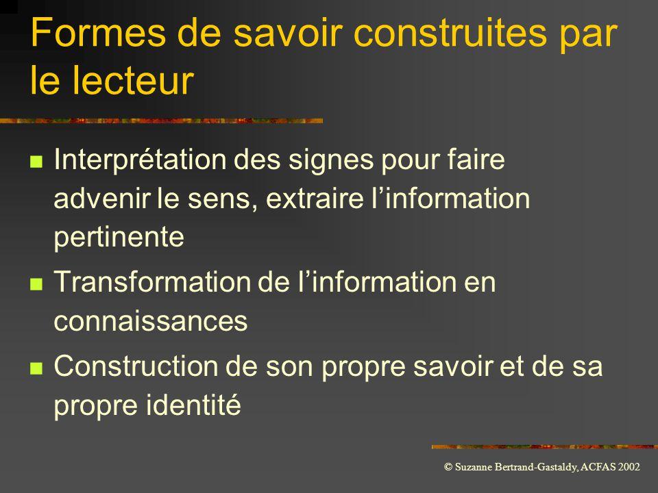 © Suzanne Bertrand-Gastaldy, ACFAS 2002 Formes de savoir construites par le lecteur  Interprétation des signes pour faire advenir le sens, extraire l