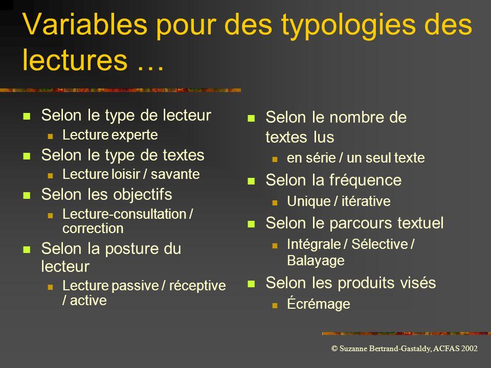 © Suzanne Bertrand-Gastaldy, ACFAS 2002 Variables pour des typologies des lectures …  Selon le type de lecteur  Lecture experte  Selon le type de t