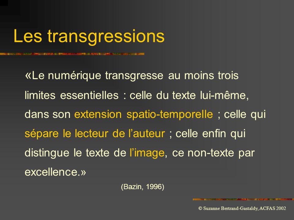 © Suzanne Bertrand-Gastaldy, ACFAS 2002 Les transgressions « Le numérique transgresse au moins trois limites essentielles : celle du texte lui-même, d