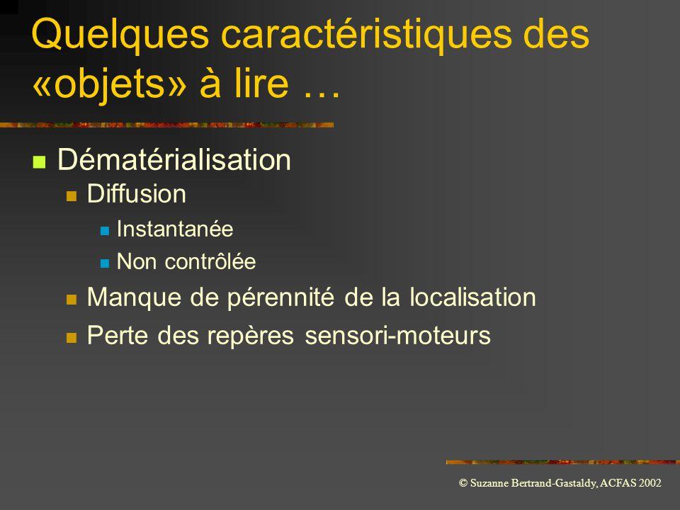 © Suzanne Bertrand-Gastaldy, ACFAS 2002 Quelques caractéristiques des «objets» à lire …  Dématérialisation  Diffusion  Instantanée  Non contrôlée