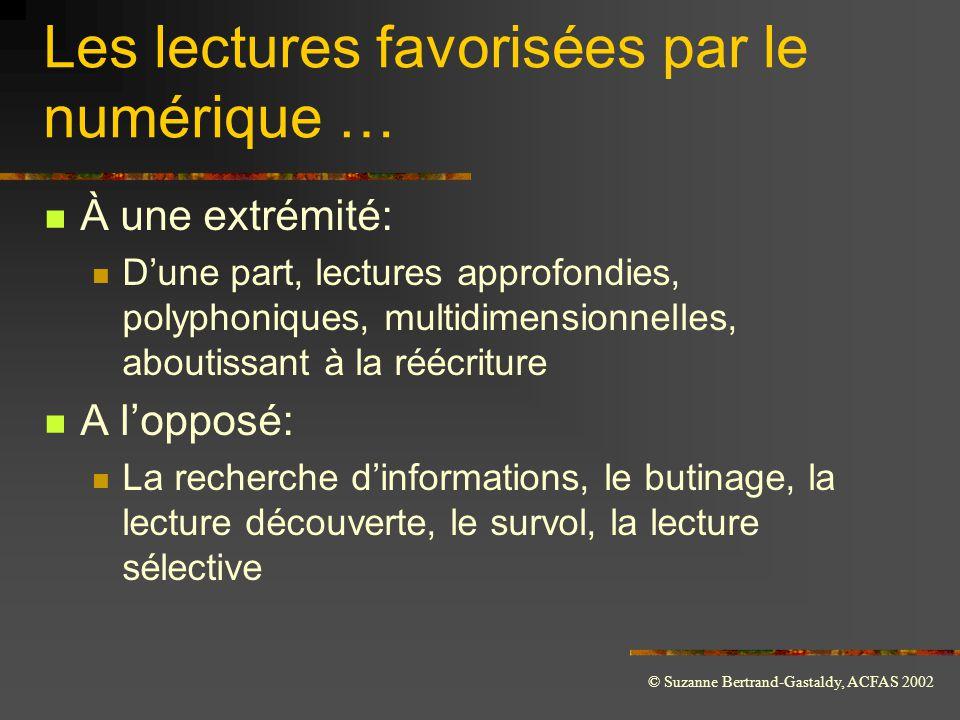 © Suzanne Bertrand-Gastaldy, ACFAS 2002 Les lectures favorisées par le numérique …  À une extrémité:  D'une part, lectures approfondies, polyphoniqu
