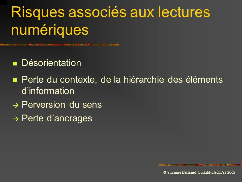 © Suzanne Bertrand-Gastaldy, ACFAS 2002 Risques associés aux lectures numériques  Désorientation  Perte du contexte, de la hiérarchie des éléments d