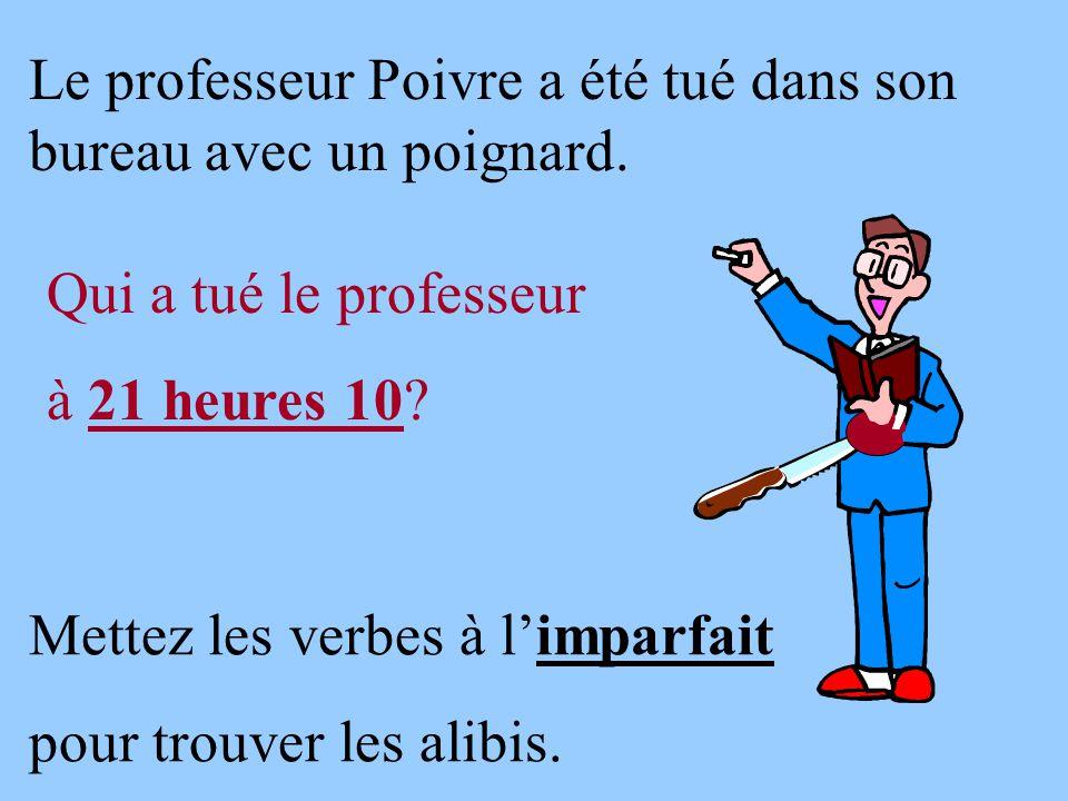 Le professeur Poivre a été tué dans son bureau avec un poignard. Qui a tué le professeur à 21 heures 10? Mettez les verbes à l'imparfait pour trouver