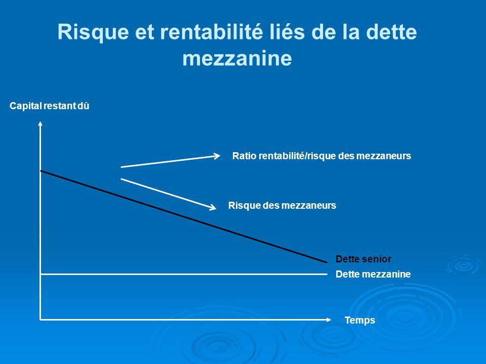 Capital restant dû Ratio rentabilité/risque des mezzaneurs Risque des mezzaneurs Dette senior Dette mezzanine Temps Risque et rentabilité liés de la dette mezzanine