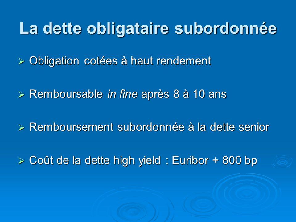 La dette obligataire subordonnée  Obligation cotées à haut rendement  Remboursable in fine après 8 à 10 ans  Remboursement subordonnée à la dette senior  Coût de la dette high yield : Euribor + 800 bp