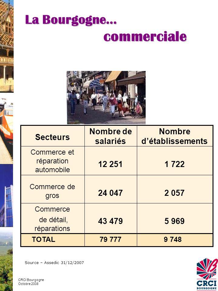 Source – Assedic 31/12/2007 5 96943 479 Commerce de détail, réparations 2 05724 047 Commerce de gros 1 72212 251 Commerce et réparation automobile Nombre d'établissements Nombre de salariés Secteurs 9 748 79 777 TOTAL La Bourgogne… commerciale CRCI Bourgogne Octobre 2008