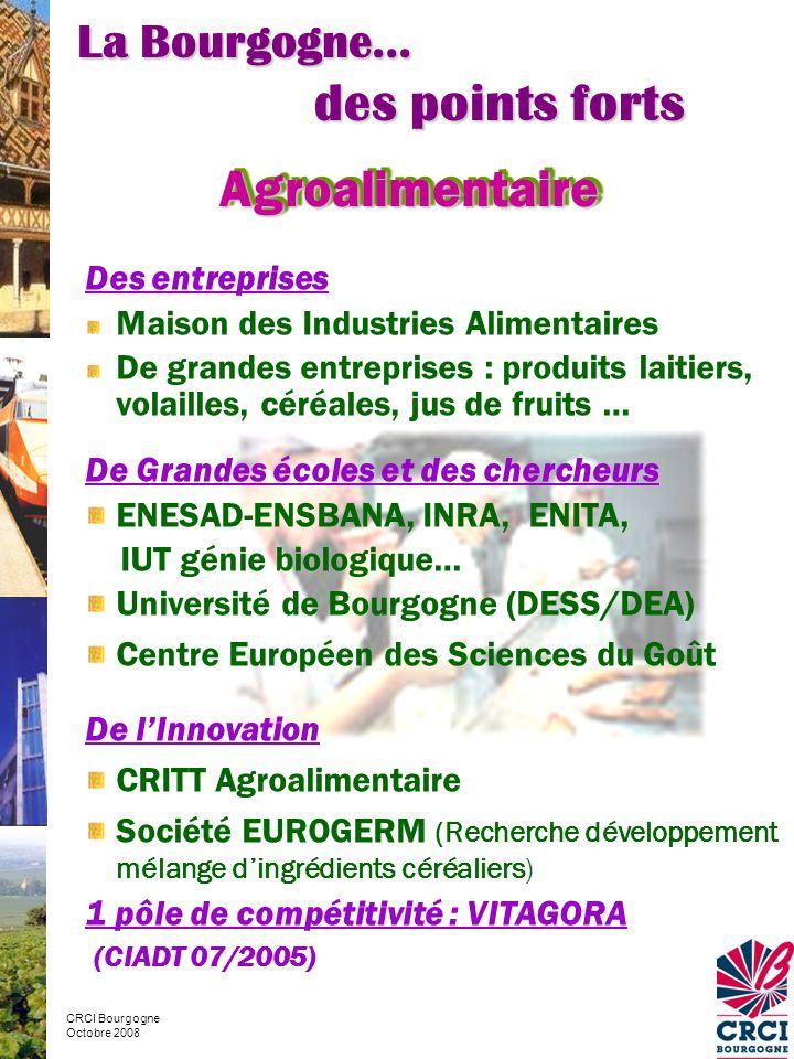 Des entreprises Maison des Industries Alimentaires De grandes entreprises : produits laitiers, volailles, céréales, jus de fruits … De Grandes écoles et des chercheurs ENESAD-ENSBANA, INRA, ENITA, IUT génie biologique… Université de Bourgogne (DESS/DEA) Centre Européen des Sciences du Goût De l'Innovation CRITT Agroalimentaire Société EUROGERM (Recherche développement mélange d'ingrédients céréaliers) 1 pôle de compétitivité : VITAGORA (CIADT 07/2005) La Bourgogne… des points forts CRCI Bourgogne Octobre 2008 AgroalimentaireAgroalimentaire