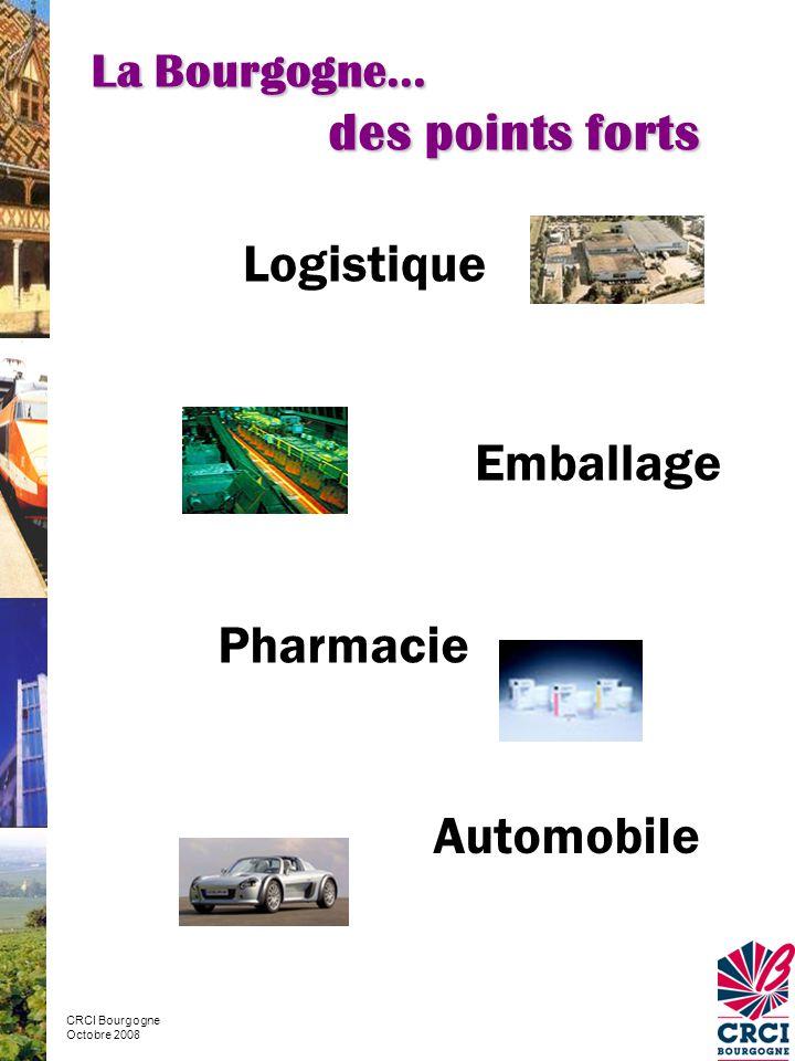 La Bourgogne… des points forts CRCI Bourgogne Octobre 2008 Logistique Emballage Pharmacie Automobile
