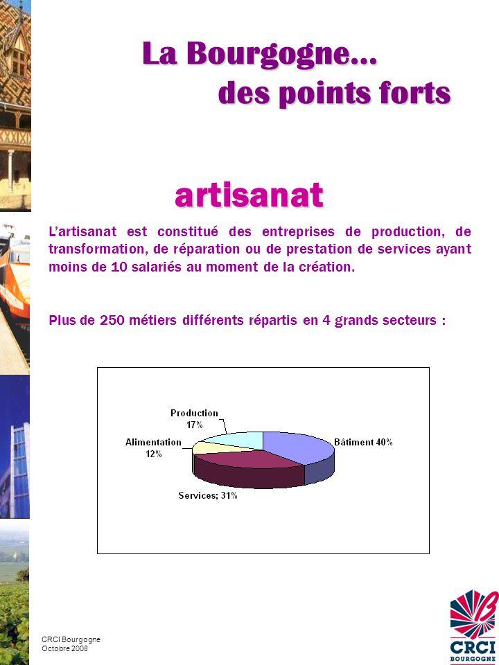La Bourgogne… des points forts CRCI Bourgogne Octobre 2008 artisanat 24 800 entreprises en Bourgogne 80 000 actifs dont 60 000 salariés 1 actif sur 7 du secteur privé travaille dans l'artisanat 8 500 salariés supplémentaires en 10 ans 2 200 entreprises supplémentaires en 5 ans