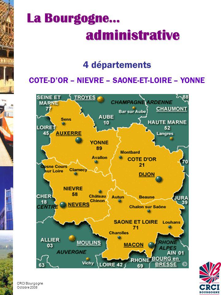 Absence Absence de densités urbaines fortes Aire urbaine de Dijon 326 000 habitants 2 046 communes Dont 16 > 10 000 habitants (Insee 2005 & RP - 1999) La Bourgogne… contrastée Source – Insee RP 1999 CRCI Bourgogne Octobre 2008 La plus peuplée et la plus vaste des aires urbaines bourguignonnes