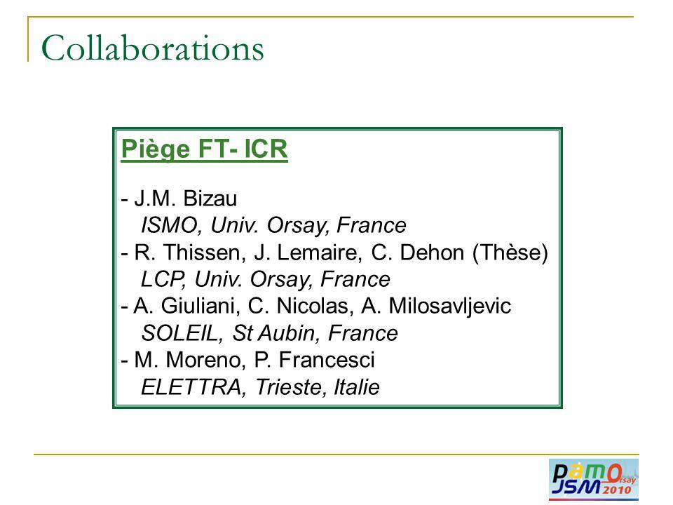 Collaborations Piège FT- ICR - J.M. Bizau ISMO, Univ. Orsay, France - R. Thissen, J. Lemaire, C. Dehon (Thèse) LCP, Univ. Orsay, France - A. Giuliani,