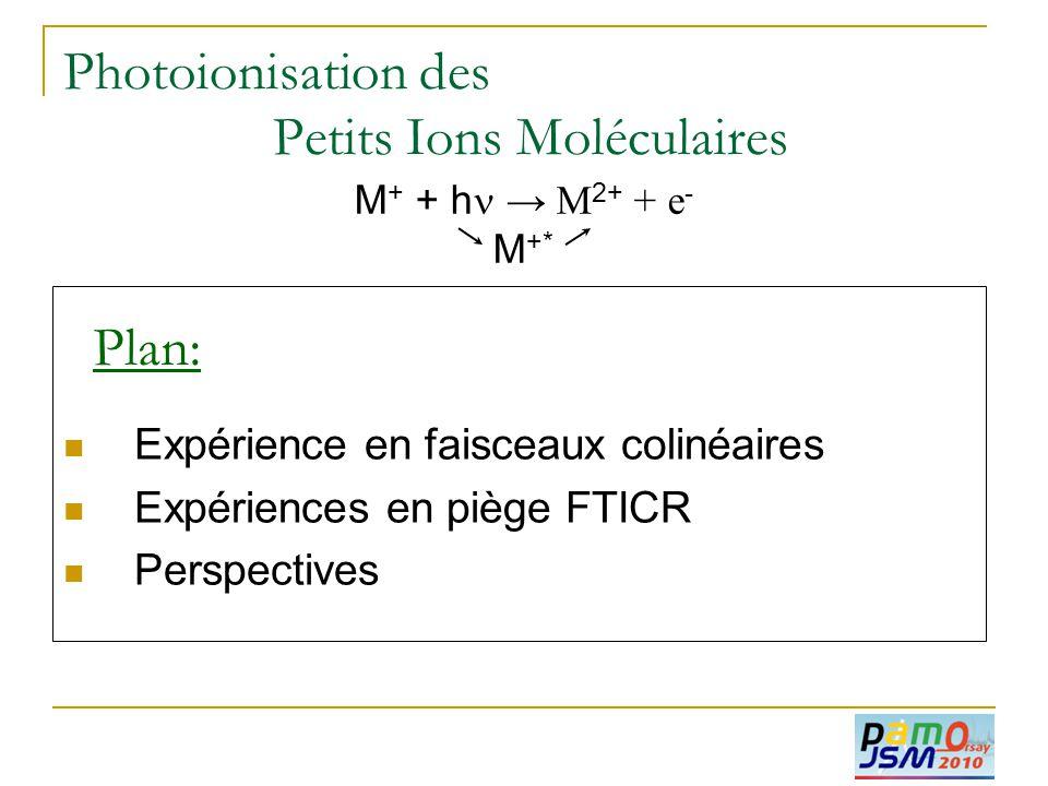  Expérience en faisceaux colinéaires  Expériences en piège FTICR  Perspectives Plan: Photoionisation des Petits Ions Moléculaires M + + h  → M 2+
