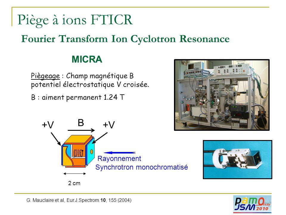 Piège à ions FTICR Fourier Transform Ion Cyclotron Resonance Piègeage : Champ magnétique B potentiel électrostatique V croisée. B : aiment permanent 1