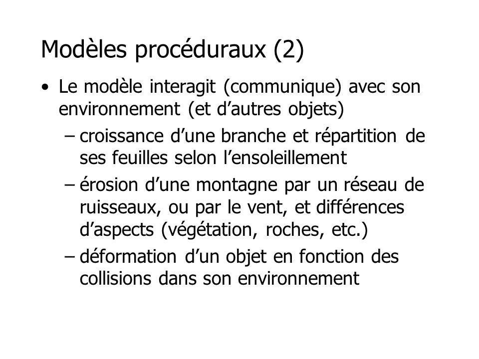 Modèles procéduraux (3) •Fractales •L-systems •Particules •Masses-ressorts •etc.