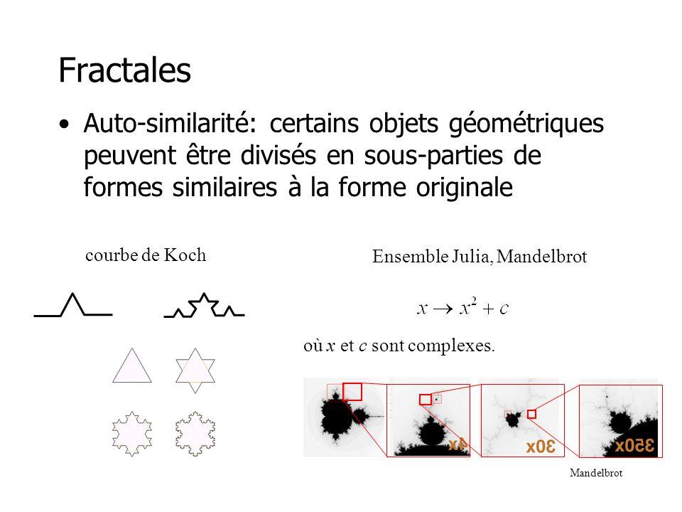 L-systems (Graftals) •Les L-systems servent souvent à décrire la structure de plantes •Série de règles de substitution –A : AA –B : A[B]AA[B] •Quelques générations –B –A[B]AA[B] –AA[A[B]AA[B]]AAAA[A[B]AA[B]]