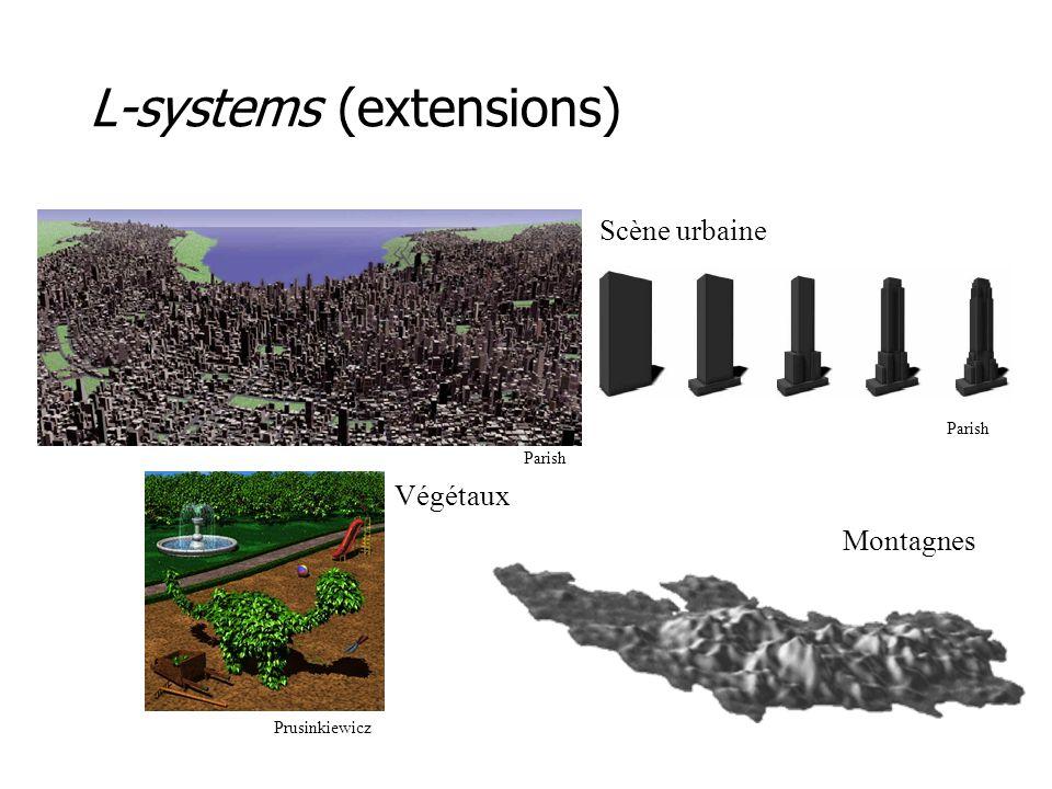 Particules •Les systèmes de particules permettent de simuler des objets difficiles à représenter autrement –e.g., feu, nuage, eau, feux d'artifice •Une particule évolue dans le temps –création, mouvement, interaction, disparition •Une particule peut réagir selon son environnement –e.g., flocking, densité •Une particule peut contrôler n'importe quel paramètre –e.g., direction, couleur, opacité, grosseur, primitive