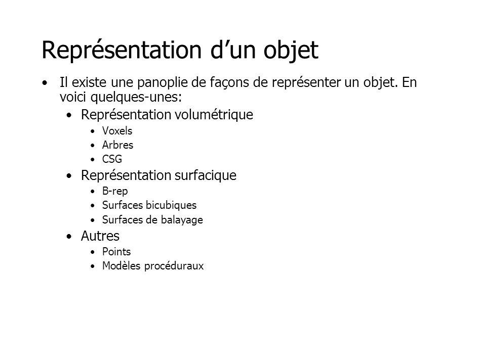 Représentation d'un objet •Représentation volumétrique –Voxels –Arbres –CSG