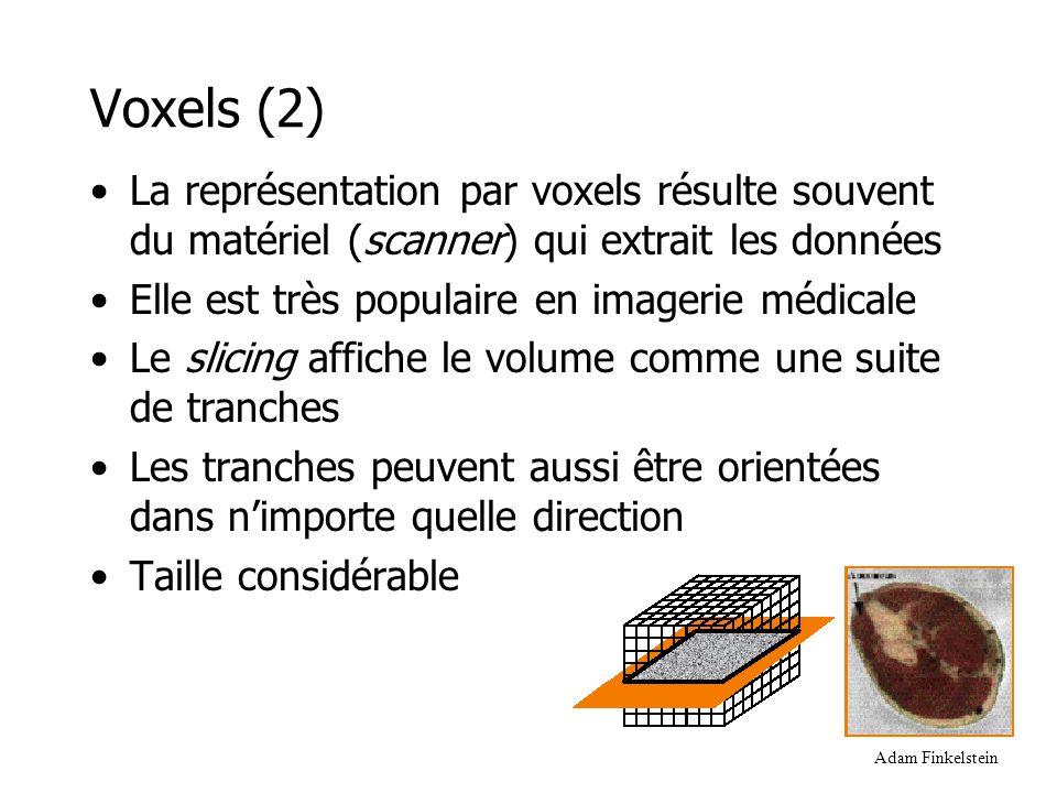 Arbres DeBry Foley,van Dam 2D 3D vs •Le quadtree (2D) ou octree (3D) permet d'encoder plus efficacement plusieurs voxels adjacents ayant une même valeur de données •Représentation hiérarchique