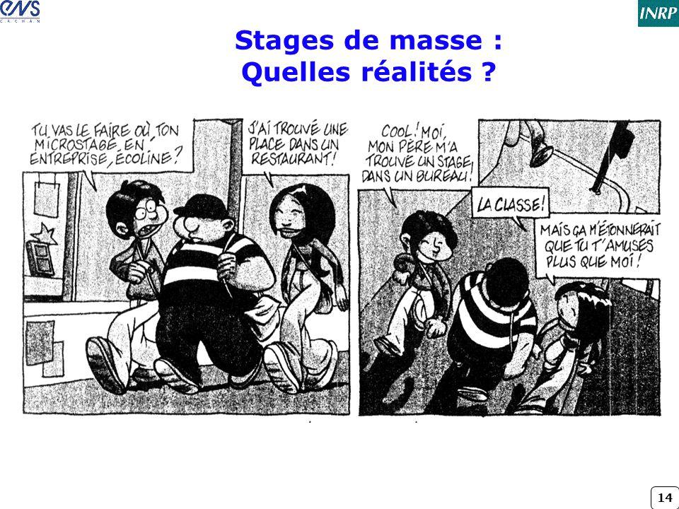 14 Stages de masse : Quelles réalités ?