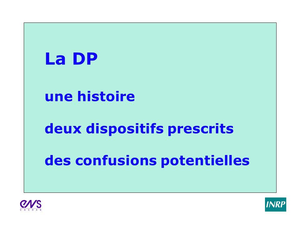 La DP une histoire deux dispositifs prescrits des confusions potentielles