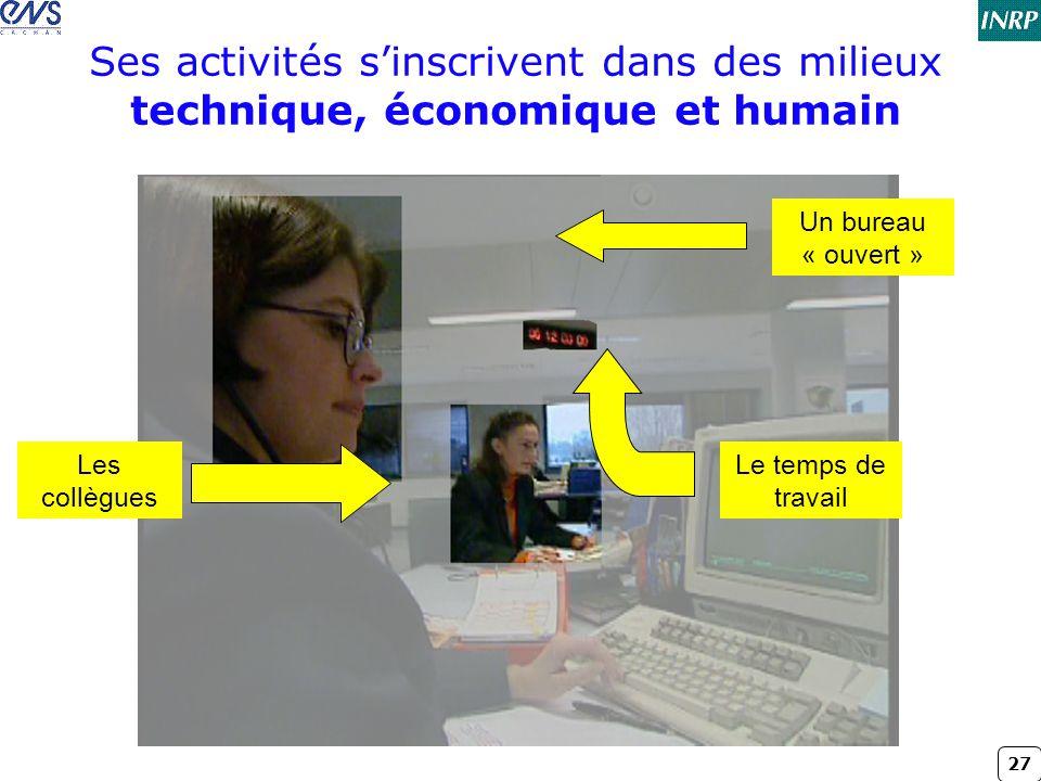 27 Ses activités s'inscrivent dans des milieux technique, économique et humain Le temps de travail Les collègues Un bureau « ouvert »