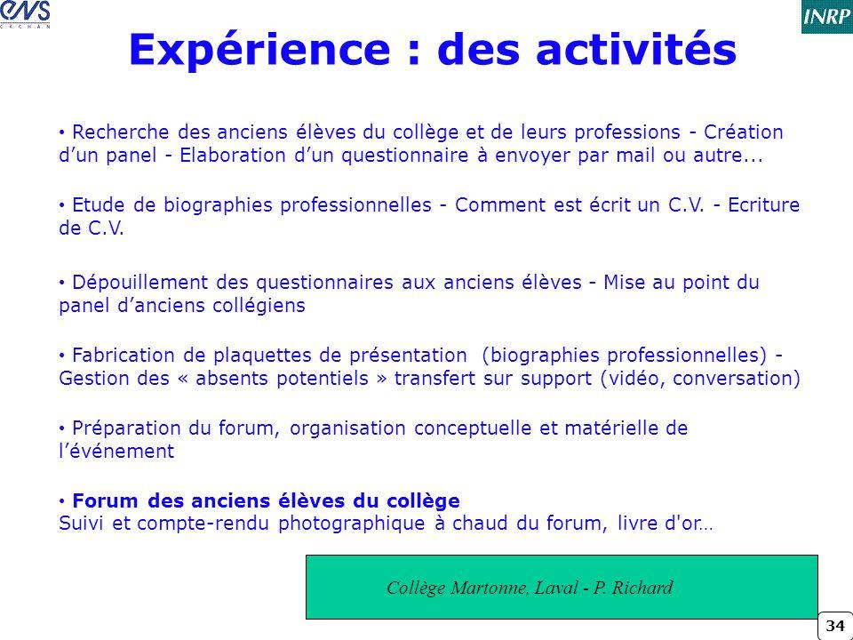 34 Expérience : des activités Collège Martonne, Laval - P. Richard • Recherche des anciens élèves du collège et de leurs professions - Création d'un p