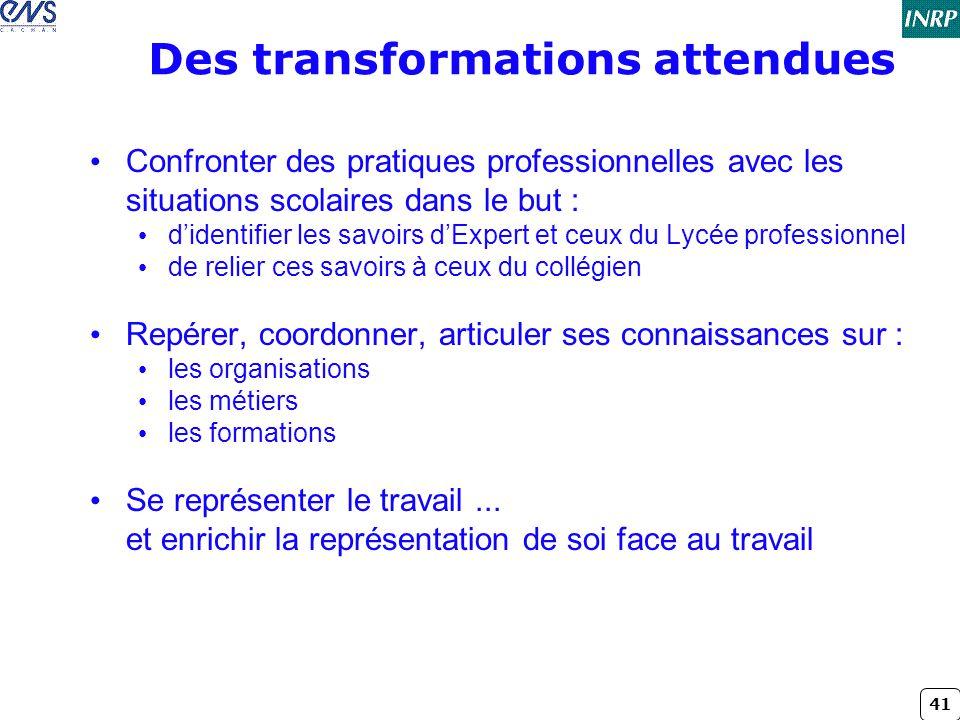 41 Des transformations attendues • Confronter des pratiques professionnelles avec les situations scolaires dans le but : • d'identifier les savoirs d'
