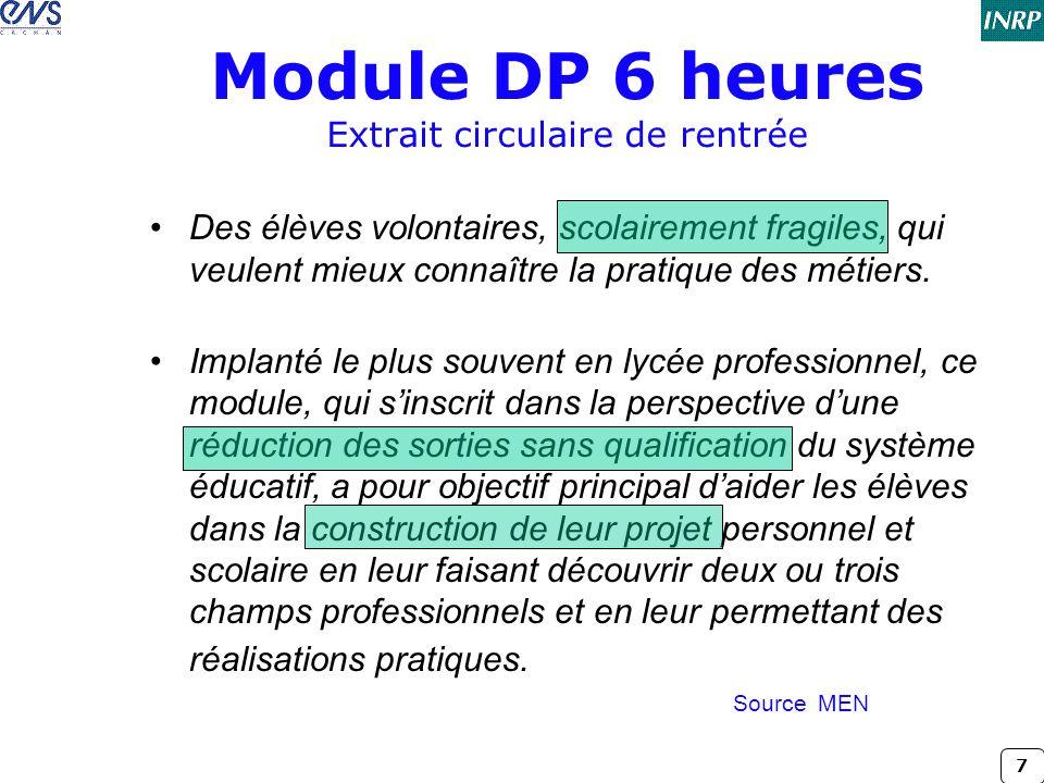 7 Module DP 6 heures Extrait circulaire de rentrée •Des élèves volontaires, scolairement fragiles, qui veulent mieux connaître la pratique des métiers