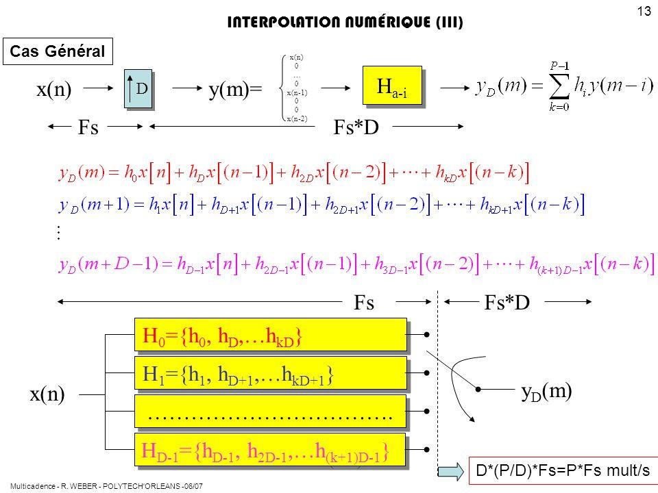 Multicadence - R. WEBER - POLYTECH'ORLEANS -06/07 13 x(n) H a-i x(n) 0 … 0 x(n-1) 0 x(n-2) Fs*DFs y(m)= x(n) H 0 ={h 0, h D,…h kD } H 1 ={h 1, h D+1,…