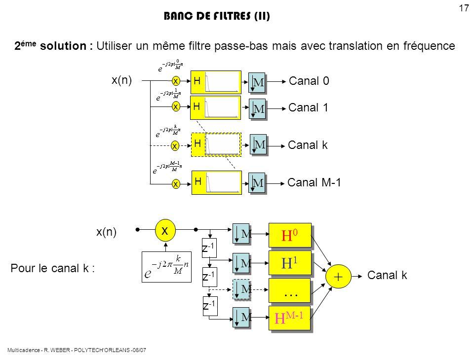 Multicadence - R. WEBER - POLYTECH'ORLEANS -06/07 17 BANC DE FILTRES (II) 2 éme solution : Utiliser un même filtre passe-bas mais avec translation en